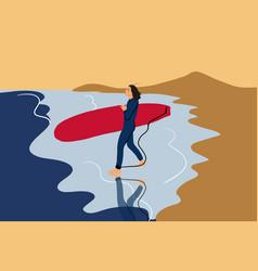 Woman surfing on a beach vector