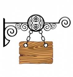 wood board on the chains vector image