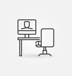 workplace with video conference outline vector image