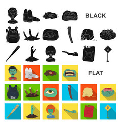Zombies and attributes flat icons in set vector