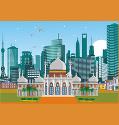 arabic palace on the background of the metropolis vector image vector image