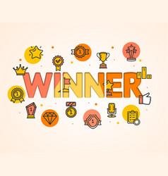 cartoon winner concept card poster vector image vector image