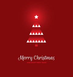 geometric christmas tree on red background vector image vector image