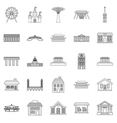 holiday area icons set outline style vector image vector image