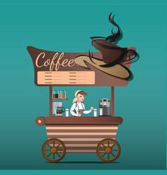 street food shop coffee vector image