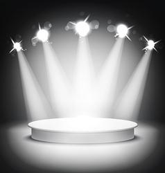 Studio with podium and spotlights grey show light vector image