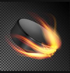 burning hockey puck burning style vector image vector image