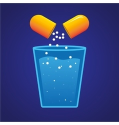Pill and a Glass of Water vector image