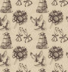 Seamless wedding pattern vector image