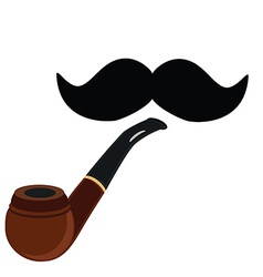 Smoking pipe and mustache vector image vector image