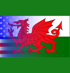 wales dragon stars and stripes vector image