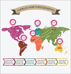 World map infographics geometric sketch design vector image