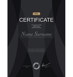 Black stylish certificate Template for diploma vector image vector image