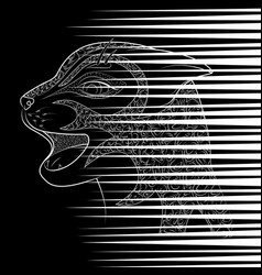 head of a wild cat zen tangle scratch from vector image