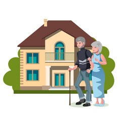 old man and his wife with his house vector image
