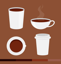 set of coffee cup with cap isolated on brown vector image vector image