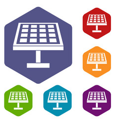 solar energy panel icons set vector image