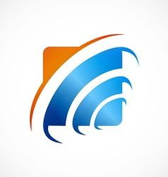 square icon wave finance logo vector image