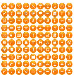 100 construction site icons set orange vector