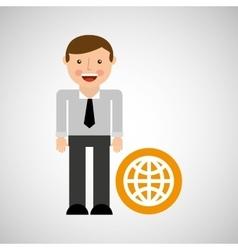 happy man icon globe social network design vector image