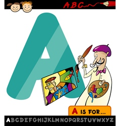 letter a with artist cartoon vector image