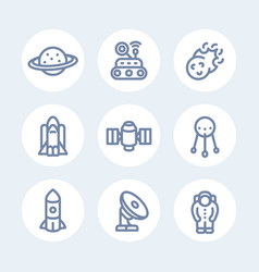 space line icons set over white vector image vector image
