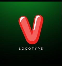 3d playful letter v kids and joy style symbol for vector image