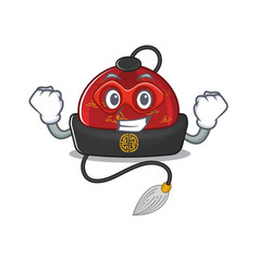 A cartoon traditional chinese hat wearing vector