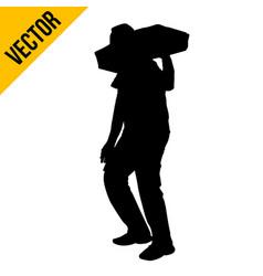 a man carrying sack on shoulder vector image