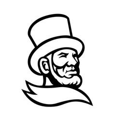 Abraham lincoln head mascot black and white vector