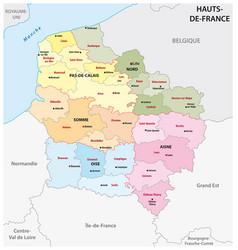 administrative map hauts de france vector image