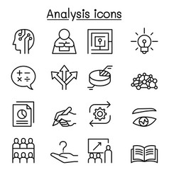 Analysis icon set in thin line style vector
