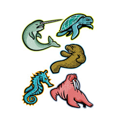 Aquatic animals and marine mammals collection vector