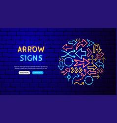 arrow neon banner design vector image