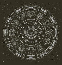 astrology symbols and mystic signs zodiac circle vector image