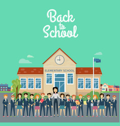 back to school teacher with pupils on school yard vector image