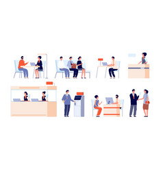 Bank clients service banking office counter vector