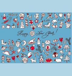 big bundle of christmas doodles vector image