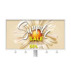 Billboard with summer sale banner with handwritten vector