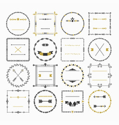 Black and golden empty circle and square frame set vector
