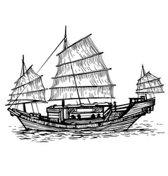 black and white chinese vector image