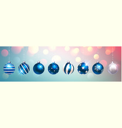 blue christmas balls on colorful festive vector image