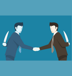 Both of businessman betray to each other vector