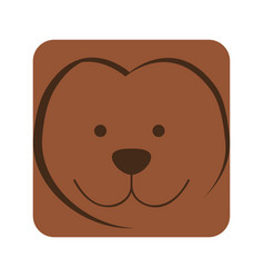 brown square monkey animal face expression vector image