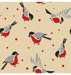 Bullfinches seamless pattern 2 vector image