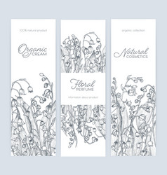 Bundle of vertical banner label or tag templates vector