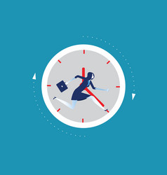 businesswoman running away in clock concept vector image