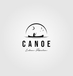 canoe vintage logo paddle outdoor design vector image