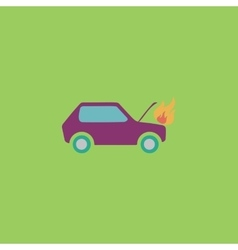 car fired flat icon vector image