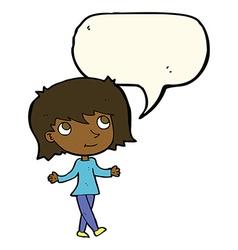 Cartoon girl with no worries with speech bubble vector